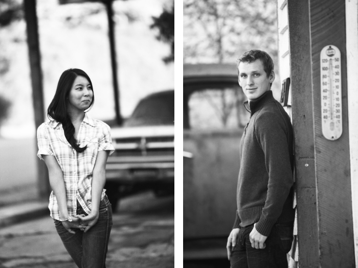 jason keefer photography engagement portraits vintage gas station