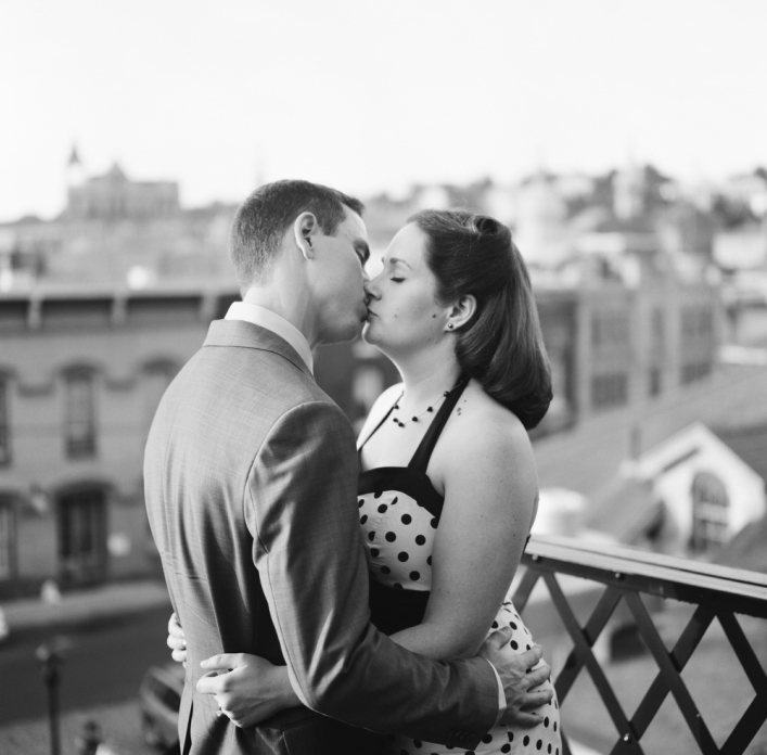 jason keefer photography charlottesville wedding photographer engagement portraits black and white film staunton downtown victory rolls pin up