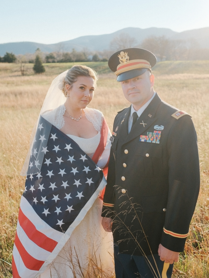 jason keefer photography charlottesville virginia va wedding photographer military us army bride and groom american flag patriotic