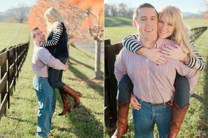 jason keefer photography charlottesville wedding engagement portraits winter north garden piggy back